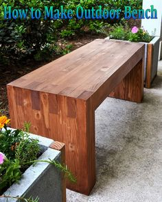 How to Make DIY Outdoor Bench. He wanted to make something without screws and hardware. So here's how to build this outdoor bench, with a finished size... #diy #outdoor
