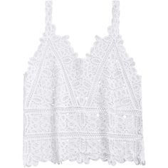 Hollow Out Lace Beach Tank Top White ($14) ❤ liked on Polyvore featuring tops, beach tanks, white singlet, lace tank top, lacy tops and white lace top