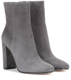Gianvito Rossi - Suede ankle boots - Gianvito Rossi's charming ankle boots are crafted from sleek grey suede. A comfortable block heel adds height while keeping the design suitably modest. Team yours with anything and everything to add a dose of soft sophistication. seen @ www.mytheresa.com