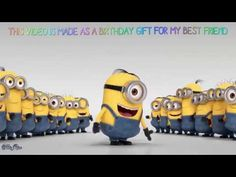 The thing everyone must know is that we all deserve a Happy Birthday Funny wish on our special day. Simple happy birthday wish seems boring these days. Happy Birthday Minions Gif, Minion Birthday Quotes, Minions Singing, Happy Birthday Wishes Song, Happy Birthday Song Youtube, Happy Minions, Happy Birthday Video, Happy Anniversary Wishes, Birthday Songs