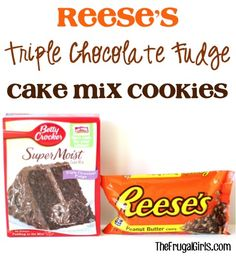 Reese's Triple Chocolate Fudge Cake Mix Cookies Recipe! ~ from TheFrugalGirls.com ~ just 4 ingredients + a few minutes of effort = SO worth it!! #cookie #recipes #thefrugalgirls