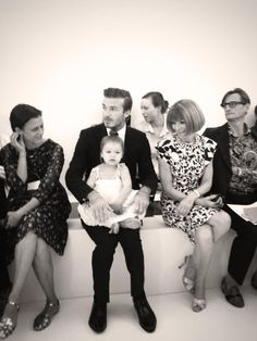 David Beckham and baby Harper  #VictoriaBeckham #SS14 #NYFW
