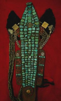 Perak headdress  Large old turquoise stones,lambskin ears,lapis and coral accents a central ghau and 2 rows of pearls