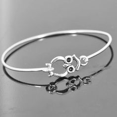 Owl Bangle, Sterling Silver Bangle, Owl Bracelet, Stackable Bangle, Charm Bangle, Bridesmaid Bangle, Bridesmaid jewelry, Bridal Bracelet by Jubiledesign on Etsy