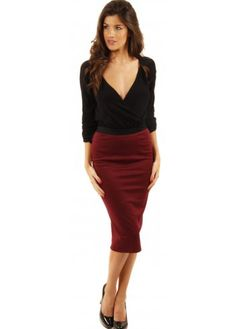 Sketched Out Burgundy Pencil Skirt | Pencil skirts, Clothing and ...