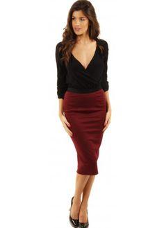 Women's Tan Cowl-neck Sweater, Burgundy Pencil Skirt, Beige ...