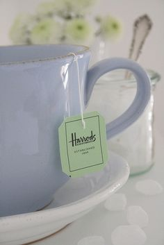 My favorite cup is sky blue and very big. For the pictures I used a tea bag for once. Usually I only drink loose green tea but these brown tea filters are not photogenic at all. Harrods, Loose Green Tea, Tea And Books, Cuppa Tea, My Cup Of Tea, Tea Cup, Tea Service, High Tea, Drinking Tea