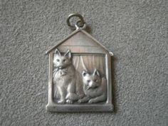 Anhänger XXL antik Silber vorne 2 Katzen hinten 2 Hunde antique silver pendant | eBay