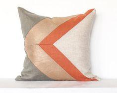 Freccia metallica Colorblock cuscino copertina - rame / cachi Combo