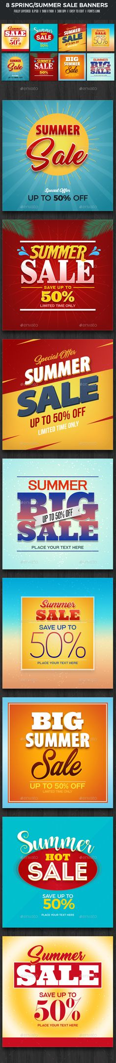8 Spring Summer Sale Banners — Photoshop PSD #deal #spring sale • Download ➝ https://graphicriver.net/item/8-spring-summer-sale-banners/19505339?ref=pxcr