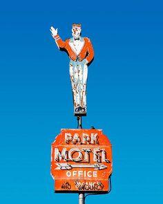 fine art photo of 'The Park Motel' sign, Americana fine art photography  #Route66 #VintageSigns #NeonSigns #MotherRoad #RoadsideAmericana #GhostSigns #Retro #VanishingAmerica #SmallTown #Abandoned #Rustic #Decay #RoadsideAttraction