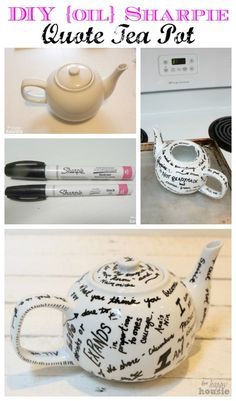 Mother's Day Gift Idea: DIY Sharpie Quote Tea Pot - The Happy Housie #mothersdayideas