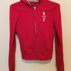 Red Abercrombie Zip Hoodie Condition 8/10 Abercrombie & Fitch Jackets & Coats