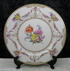 By Franziska Hirsch Dresden Porcelain of Germany around 1912. The plates are hand-painted with a variety of bright floral central decorations surrounded by floral swags and bouquets in many lavish colors aroun the rim. | eBay!