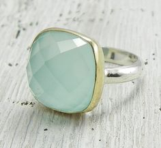 Sea Green Chalcedony Ring 14k Gold and Sterling SIlver, Sea Foam Green Aqua, Handmade Ring on Etsy, $140.00