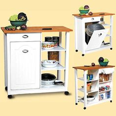 Waste Basket Butcher Cart   A Kitchen Island On Wheels For Your Kitchen  Supplies U0026 Cutlery. Hidden, Built In Trashcan Compartment Too!