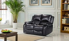 Lovesofas Valencia 3 2 1 Seater Bonded Leather Recliner Suite / Sets - Black