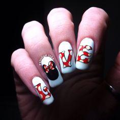 Nails Polished Inka - Disney Valentines Love a Nail Art Disney Valentines, Valentine Nail Art, Crazy Nail Art, Cute Nail Art, Different Nail Designs, Cool Nail Designs, Super Cute Nails, Pretty Nails, Nail Candy