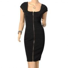 $19.45 Zipper Solid Color Square Neck Professional Modern Style Bandage Dress For Women