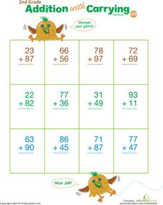 Your second grader will become an addition pro with worksheets targeted at developing mental math skills and an understanding of adding multiple columns!