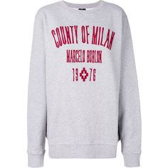 Marcelo Burlon County Of Milan logo embroidered sweatshirt ($425) ❤ liked on Polyvore featuring tops, hoodies, sweatshirts, grey, gray top, gray sweatshirt, long sleeve tops, county of milan and grey sweatshirt