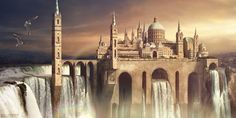 Waterfall city by =Sedeptra on deviantART