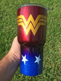 Wonder Woman RTIC 30oz Tumbler, illusion series: we have 11 new powder coat colors. This cup includes cherry, smurf, gold and white.