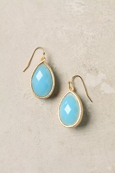 Two-Tone Drops Vibrant aqua and cool green facets face front and back on this brushed-gold pair.#anthropologie