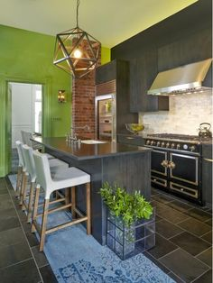 Beautiful kitchen with green accents
