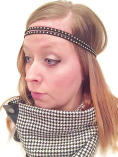 2 Strand Studded Suede Headband with Black Elastic, Approximately 20 inch circumference Colors Available: Black, Tan, Turquoise, hot pink, light pink, navy, royal blue. Only $6.00