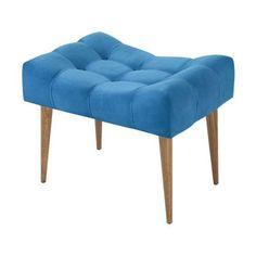 Banco Quadrada Pé Madeira Suede Liso Azul 359,00 Sofa Design, Furniture Design, Cute Room Decor, Wooden Stools, Vanity Bench, Decoration, Ottoman, Upholstery, Sweet Home