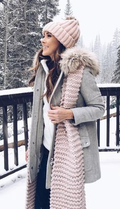 #winter #outfits gray parka jacket, pale-peach scarf and bobble hat