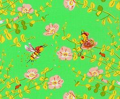 Briar Rose Buzzy Bee Cotton Fabric by Heather Ross