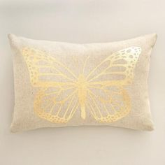 One of my favorite discoveries at WorldMarket.com: Gold Butterfly Linen Lumbar Pillow