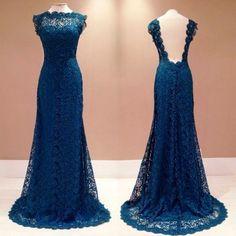 Charming Evening Dress,Lace Evening Formal Dress,Backless Evening Gown,Women