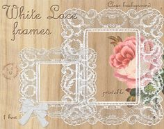 Edwardian LACE FRAMES DIGITAL Scrapbooking Printable Lace Die Cut Transparent Background Square Rectangle Frame Stamp Bow Clip Art FrO4a         February 04, 2014 at 08:51PM
