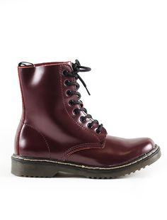 ΑΡΒΙΛΑ BURGUNDY Dr. Martens, Bellisima, Combat Boots, Burgundy, Boutique, Shoes, Fashion, Moda, Zapatos