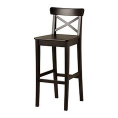 INGOLF Bar stool with backrest, brown-black - brown-black - 74 cm - IKEA