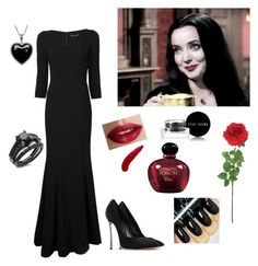"""Morticia Addams outfit"" by mayraliz on Polyvore featuring Dolce&Gabbana, Casadei, Laura Cole, TheBalm, Bobbi Brown Cosmetics, Christian Dior, Lord & Taylor, women's clothing, women's fashion and women"