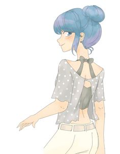 Marinette ☆  Oh really? How many other people in Miraculous Ladybug have BLUE HAIR. Yet somehow Chat still finds Ladybug's identity perplexing. Can I just, can I just facepalm?