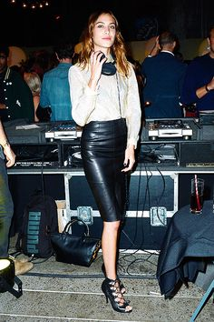 Alexa Chung DJs at the New York Magazine fashion week party on September 9, 2014 in New York City.
