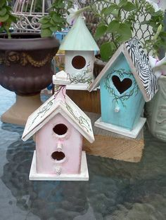 Mini Bird Houses Handpainted in Choice of 3 by ThinkSminkArt, $19.99