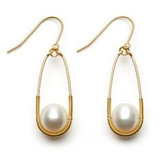 Gold-Plated Sterling Silver Oval Dangle Earrings with White Freshwater Pearl and Wire-Wrapped Accent Joy De Mer. $240.00