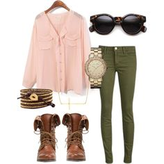 """pink blouse with olive pants"" by addiwood on Polyvore"