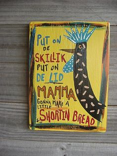 Makes me laugh!!! I love this for my kitchen-- ROOSTER PaintingChicken Cooking CORNBREAD Primitive by ROXANEJART, $27.50