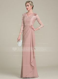 A-Line/Princess V-neck Floor-Length Flower(s) Cascading Ruffles Zipper Up Covered Button Sleeves Sleeves No Dusty Rose General Plus Chiffon Lace US 2 / UK 6 / EU 32 Mother of the Bride Dress Dress Brukat, Hijab Dress Party, Prom Party Dresses, Mother Of Groom Dresses, Bride Groom Dress, Mother Of The Bride, Bride Dresses, Simple Dresses, Pretty Dresses