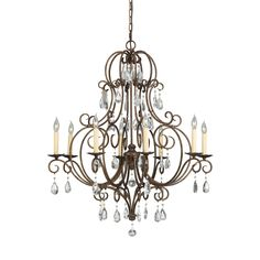 Feiss Chateau 8 Light Mocha Bronze Chandelier (8 - Light Chateau), Brown (Metal)