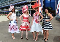 Here come the girls! Anna Perry, Cara Palmer, Christine Walkin and Lindsay Healy from Leeds prepare to enjoy their day out