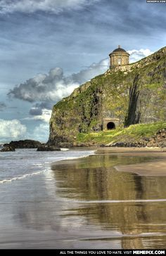 Temple on a cliff edge in Northern Ireland -- Downhill!!! I walked this beach! <3