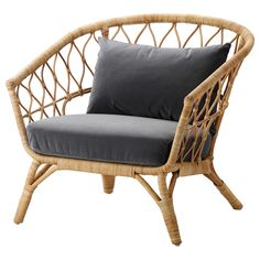 IKEA STOCKHOLM 2017 Armchair with cushion Rattan/sandbacka dark grey You'll keep sitting comfortably thanks to the long-lasting pocket springs that support your body. Ikea Stockholm 2017, Ikea Stockholm Chair, Stockholm Sweden, Cushions Ikea, Seat Cushions, Design Ikea, Wicker Armchair, Ikea Wicker Chair, Upholstered Chairs